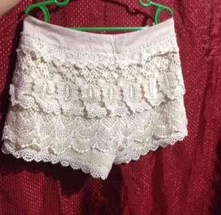 White Lace Shorts/Skirt (Skorts)