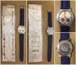 Sanrio Patty & Jimmy 1998 年 立體公仔手錶 (全新未用過) (** 有歲月痕跡 ~ 已經沒有電, 不能肯定運作是否正常 **) (** 只限北角地鐵站交收 **)
