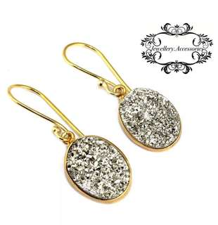 Handmade 24K Gold Genuine Titanium Agate Druzy Crystal Dangle/Drop Earrings -C . 手製24K金真鈦瑪瑙晶簇水晶晶石垂吊耳環-C