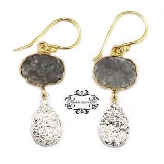 Handmade 24K Gold Genuine Pyrite & Agate Druzy Crystal Dangle/Drop Earrings . . 手製24K金真瑪瑙晶簇黃鐵礦水晶晶石垂吊耳環- A