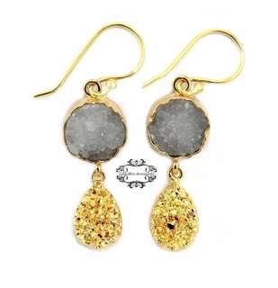 Handmade 24K Gold Genuine Pyrite & Agate Druzy Crystal Dangle/Drop Earrings - D . 手製24K金真瑪瑙晶簇黃鐵礦水晶晶石垂吊耳環 - D