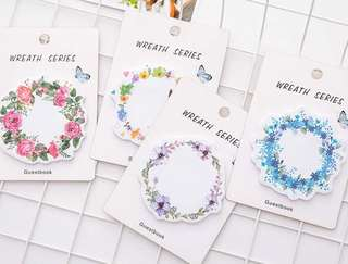 Floral Wreath Post-It Notes Memo Pad Set