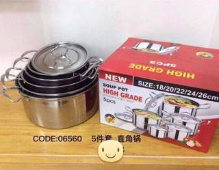 5pcs High Grade Soup Pot