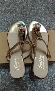 🚚 金-大寶石鏡面夾腳拖鞋