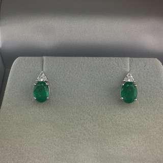 2卡46份綠寶 0.14份鑽石 18K白金耳環 18K Withe gold 2.46ct Emerald 0.14ct Diamond Earrings 可議價