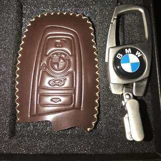BMW Brown Leather Car Key Holder Box Set