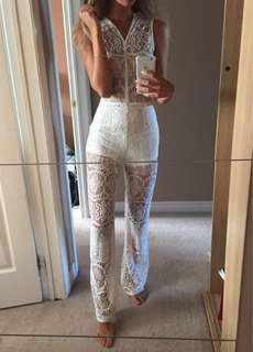 White Lace Jumpsuit XS