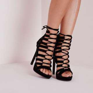 Missguided suede lace up heels