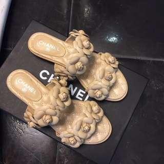 Chanel camellia flats