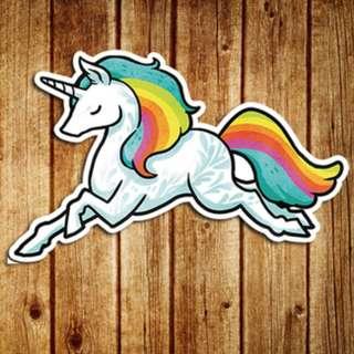 Unicorn Rainbow Sticker Gloss Waterproof