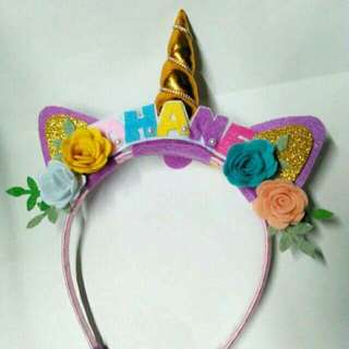 UNICORN HEADBAND WITH NAME.RIBBON.FLOWER