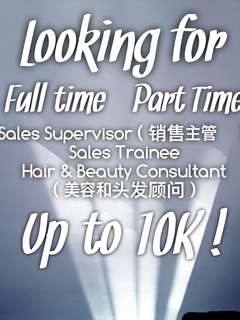 Sales Supervisor, Sales Trainee, Hair and Beauty Consultant