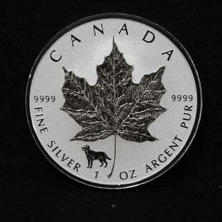 2018 1 oz Dog Privy Canadian Silver Maple Leaf Reverse Proof Coin