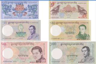 Bhutan new uncirculated currency notes