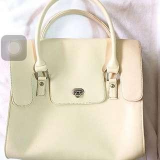 White overlap handbag