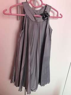 H&M Girl's Top Dress Silver Grey 5-6 Years Old