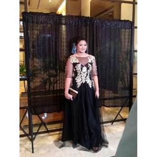 PROM GOWN FOR PLUS SIZE FOR SALE/RENT (Black and Gold)