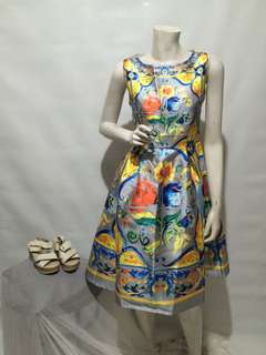 D&G INSPIRED MAJOLICA PRINT DRESS IN SILVER - large#2