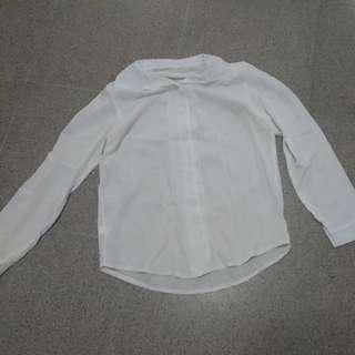 🚚 簡約白色V領長袖雪紡襯衫