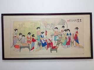 "Lukisan cat air (aquarell) vintage ex. China judul ""Pesta"""