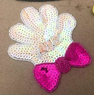 Sew on sequins patch - Hand Palm with Ribbon
