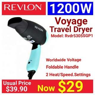 Revlon Travel Dryer Model Voyage 1200 . Usual Price: $39.90 Special Price $29.00 (Brand new in box & Sealed)  whatsapp 85992490 to collect today from Amy mrt stn in town