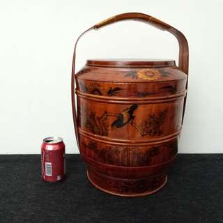 Chinese Lacquer Two Tier Wood Basket