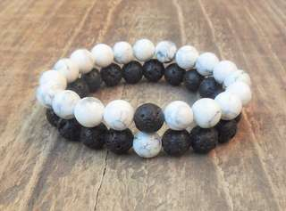 Limited Edition Distance Bracelet (Howlite and Lavastone) 8MM