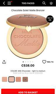 Too faced milk chocolate bronzer
