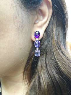 Amethyst Cabochon earrings in 14k whitegold