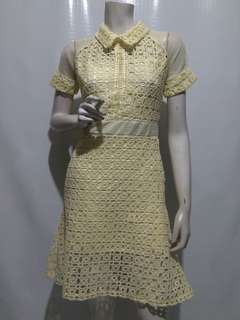 SELF PORTRAIT INSPIRED COLLARED LACE DRESS LIGHT YELLOW
