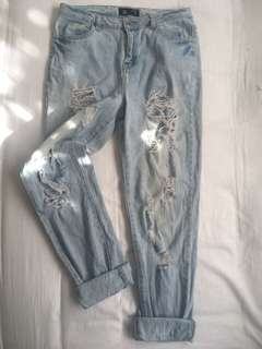 Ripped Boyfriend Jeans - Size 8