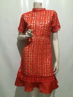 SELF PORTRAIT INSPIRED LACE DRESS RED