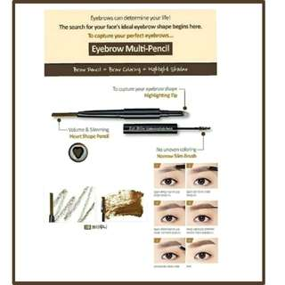 Etude eyebrow contouring multi pencil 3in1 Contouring Multi Pencil (pencil alis + maskara alis + highlighter)