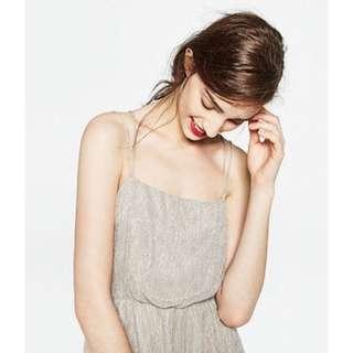 🚚 全新 ZARA 細肩帶金屬感小禮服 小洋裝