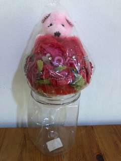 Home decorations bear in a jar