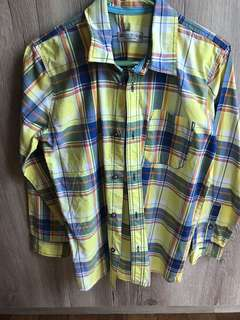 Marks & Spencer Boys 12 Years Old Checkered Shirt Yellow Blue