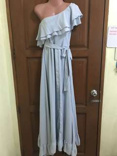 Powder Blue Long Dress with Slit