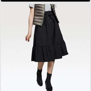 Uniqlo black frilled ribbon skirt