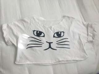 Cat Crop Shirt - Size M