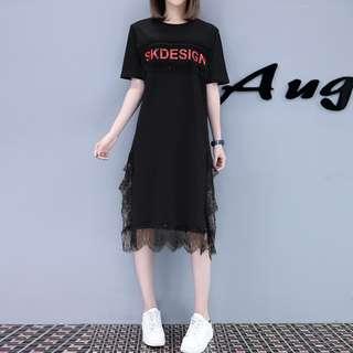 P12733 韓版字母蕾絲拼接連衣裙