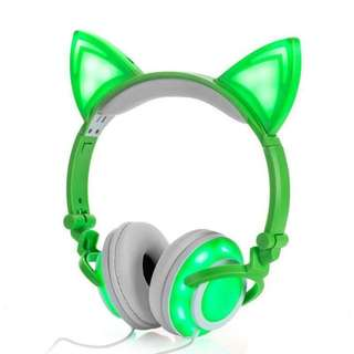 Cat Ear & Muffs 4 LED Lights Glowing Headphone, Rechargeable