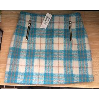 Paper and scissors plaid mini skirt