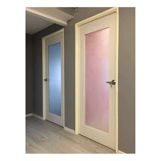 HDB BTO Full Solid Laminate Bedroom Door with Frosted Glass