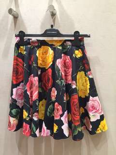 Dolce and Gabbana rose print skirt