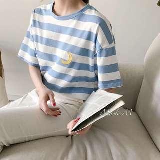 🚚 日系妞✨圓領條紋可愛天氣刺繡休閒短袖T恤短T