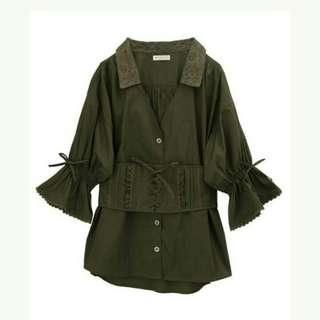 全新日本axes femme軍綠色浪漫蕾絲糖果袖蝴蝶結襯衫