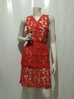 SELF PORTRAIT INSPIRED LACE DRESS IN RED XL