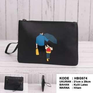 Tas Tangan / Handbag / Clutch Pria Import (HBG974) - Black