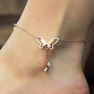 Butterfly Drop Double Diamond Rose Gold Anklets